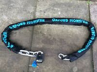 Oxford Monster 16mm x 2m ultra strong hardened steel Security chain with Thatcham approved lock