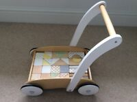 JoJo Maman Bebe baby walker with pastel wooden blocks
