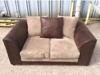 2 Seat Brown Jumbo Cord and Leather Sofa - New - £149 Including Free Local Delivery
