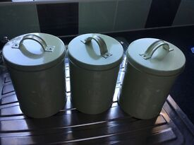 Tea, coffee and sugar canisters in green