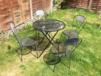 French Ornate Style Wrought Iron Bristo Garden Table and 4 Chairs Black