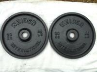 2 x 20kg Weider Olympic Cast Iron Weights