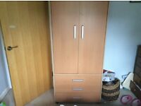 Wardrobe, with three drawers, light colour not sure if beech or birch veneer