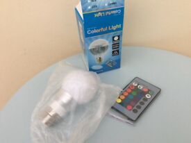 Colourfull dimmed light bulb 16 colours with remote new