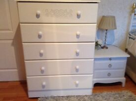 White chest of five drawers, good condition.
