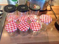 10 x preserve jam jars mix of Bonne Maman