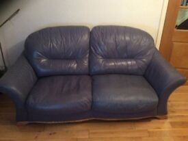 3 seatwe, 2 seatwe blue leather suite, used, good condition, buyer to collect