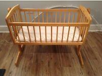 kUB swinging crib and mamas and papas mattress