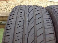 Pair of part worn tyres 255/35/20 4mm tread average