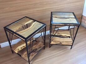 Oak and steel tables