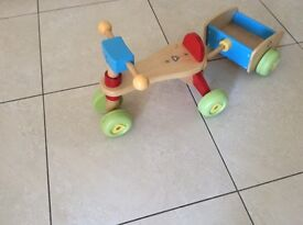 ELC Child's wooden ride on with trailer
