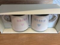 BRIDE AND GROOM MUGS- new in box