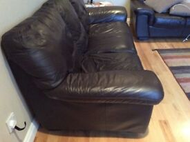 3 and 2 seater dark brown leather sofas,