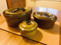 Vintage T G Green Church Gresley Set of 3 Casserole Dishes 1980s