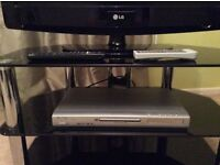 """LG 32"""" LCD TV with Glass and Black 3 shelf stand also with Goodmans DVD Player"""