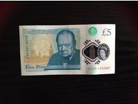 New £5 bank note with early serial number AA 09