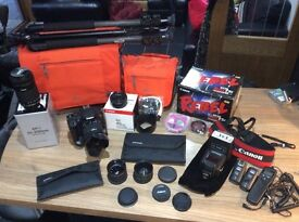 Canon Rebel T5i 3 Lenses and accessories.