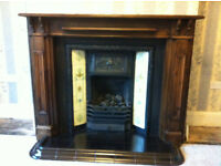 Retro Antique Victorian Fireplace + Surround + Kerbed Hearth
