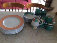 Jade green & multi coloured Churchill dinner/tea set
