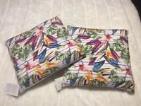 Pair of brand new with tags, tropical print cushions