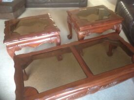 Mahogany coffee and two side tables