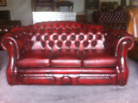 Oxblood leather 3 seater Chesterfield sofa...matching chairs available