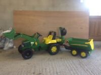 John Deere tractor and trailer