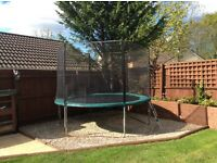 10FT TRAMPOLINE WITH SAFETY NET. WELL CARED FOR