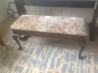 """Duet piano stool, dark wood, lift up lid for music storage. Good condition length 36"""" height 17"""""""