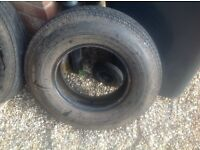 Free!! 2 matching old caravan car tyres