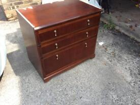 Three drawer chest on casters