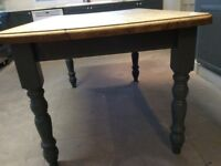 Solid pine dining table.painted in Neptune Smoke,6 seater