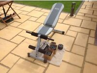 Exercise bench and weights.