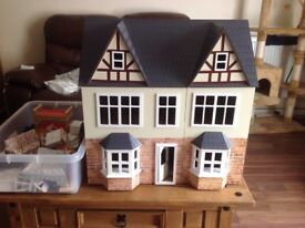 Large dolls house plus furniture 1/12th scale