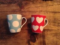 2 x Cath Kidston Stanley Tea Cup/ Mugs Red Hearts & Turquoise Polka Dots