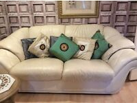 Three piece leather suite 2 settees 1 is a three seater other 2 plus a chair in very good condition