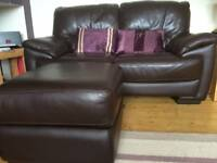 2 x Leather 2 Seater Sofa's & storage footstool