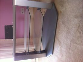 glass tv stand with glass shelves