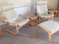 Two Ikea cream leather Poang chairs with matching footstool