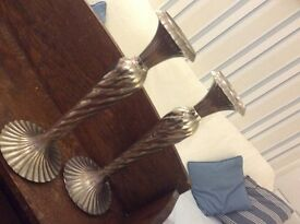 Silver coloured metal vintage pair of candlesticks