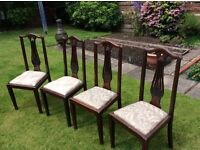 Dining Room Chairs, 4 Matching, Vintage with Lyre Design inserts