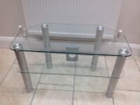 Glass TV Stand trimmed with Chrome
