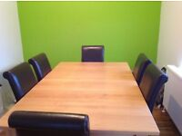For Sale - Extendable Oak Dining Table and 6 Leather Chairs