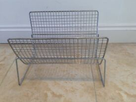 Attractive stainless steel gridded newspaper rack