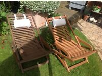 X2 wooden Garden Sun Loungers with head rests