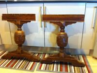 SOLID OAK, WELL-SEASONED, 'CHUNKY' CARVED TABLE-LEGS X2 on platform-base IN VGC.