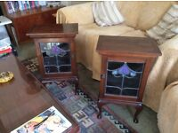 2 bedside cabinets, mahogany with stained glass doors