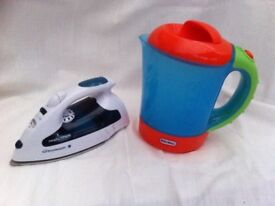 Toy kettle and iron with sounds - plastic battery powered