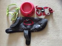 Small dog or puppy equipment, bowl, 2 harness's, coat , small collar