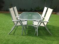 Garden furniture set, glass table with 4 reclining chairs